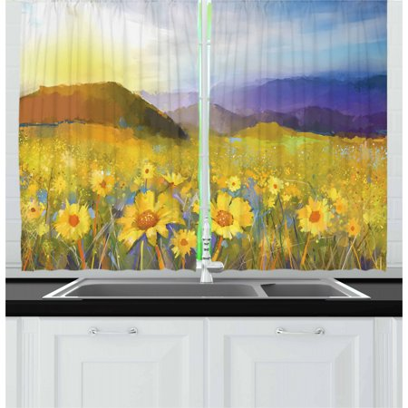 Fine Art Curtains 2 Panels Set, Daisy Flower Blossom Meadow Painting with Hills Sunset Spring Season Foliage Image, Window Drapes for Living Room Bedroom, 55W X 39L Inches, Multicolor, by Ambesonne ()