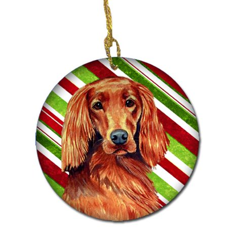 Irish Setter Candy Cane Holiday Christmas Ceramic Ornament