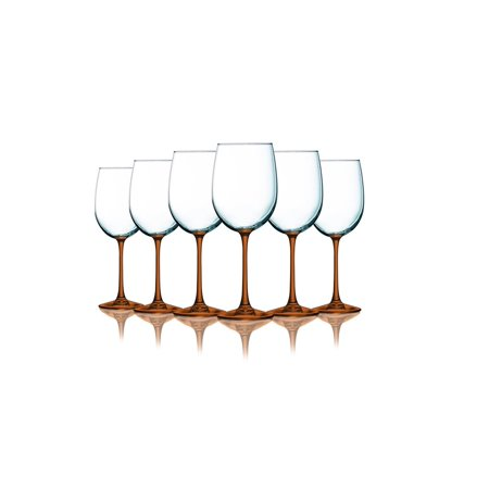 Purple Wine Glasses Bulk (Orange Wine Glasses with Beautiful Colored Stem Accent - 19 oz. set of 6- Additional Vibrant Colors)