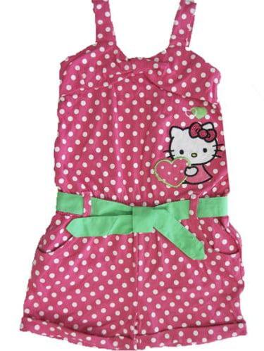 Hello Kitty Little Girls Lime Green Ruffled Applique Romper 4-6X