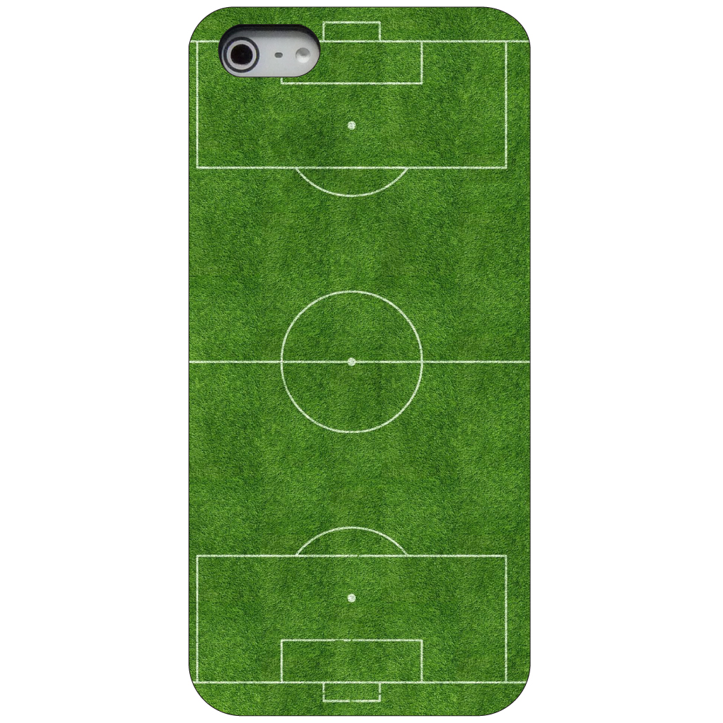 CUSTOM Black Hard Plastic Snap-On Case for Apple iPhone 5 / 5S / SE - Soccer Field Layout