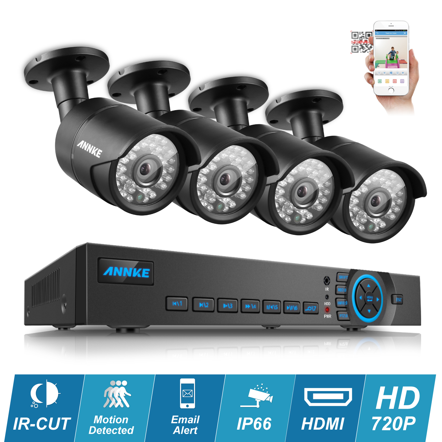 ANNKE CCTV Kit 4CH HDMI AHD DVR 4PCS Night Vision IR 720P 1200TVL HD CCTV Security Cameras Surveillance System QR