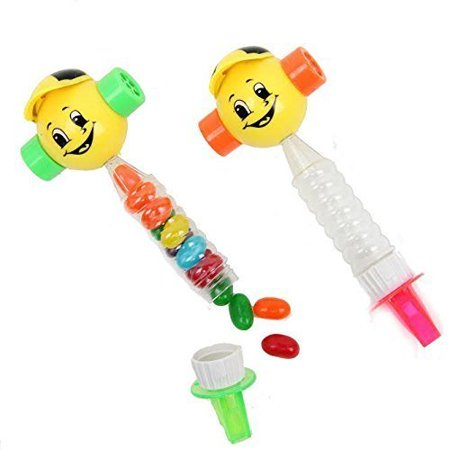 Novelty Toy Smiley Face Whistle Candy Holder 2 Pack Party Favor | Colorful Plastic Noise Makers Party Accessory Happy Face Toy Whistles for Birthdays | Raving | Gift Bags | BBQ's - 2 Pc