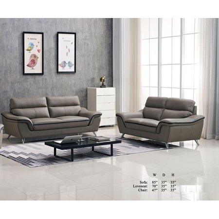 Gorgeous Contemporary Living Room Furniture 2pc Sofa Set Gray Leather Air Black Welt Trim Cushion Sofa Loveseat Couch ()