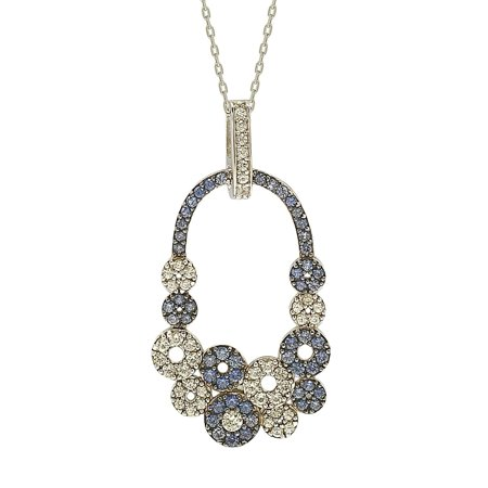 - Suzy Levian Sapphire and Diamond Accent in Sterling Silver Multi Circle Pendant