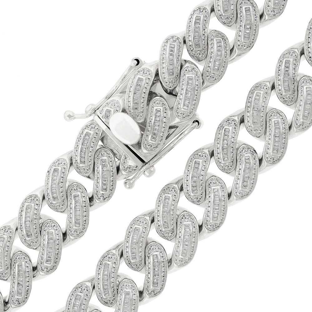 .925 Sterling Silver 18mm CZ Baguette Iced Out Miami Cuban Curb Link Bling Chain Necklace Rhodium Plated