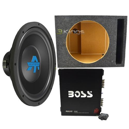 Autotek Axl12D4 600 Watt 12 Inch Sub +  Boss R3002 600W 2 Ch Amp + Enclosure