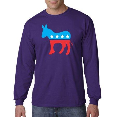 1011 - Unisex Long-Sleeve T-Shirt Democrat Donkey Mascot Liberal