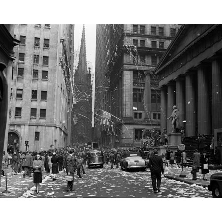 1940s New York City Wall Street Ticker Tape Parade Celebration Of E-E Day Victory In Europe May 8 1945 Print By Vintage - Halloween Parade In New York City