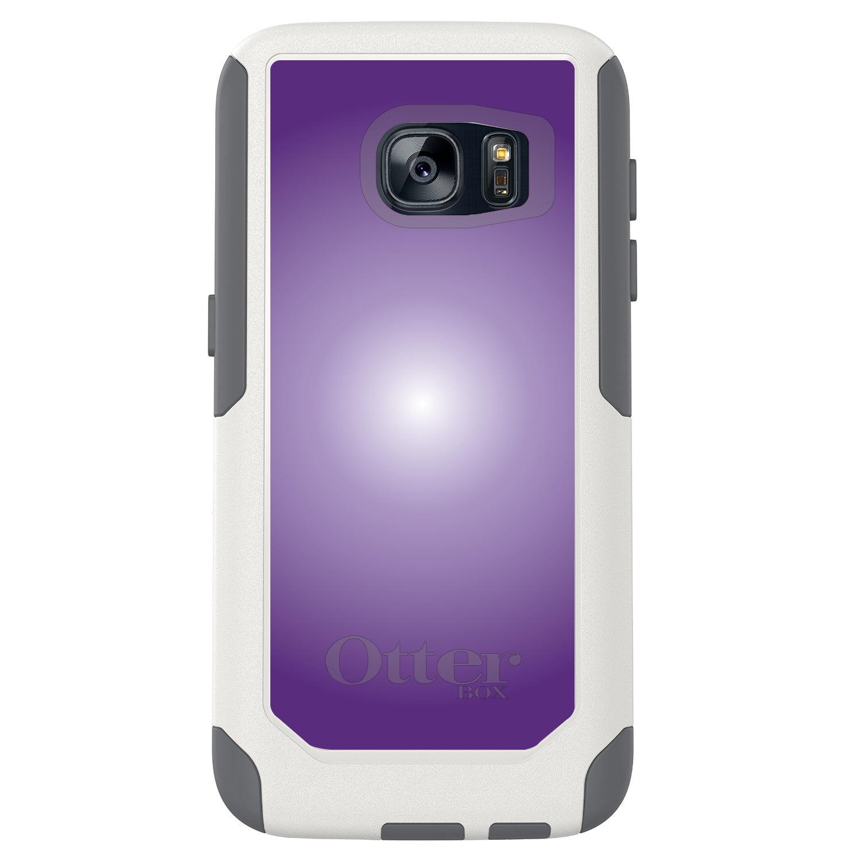 DistinctInk™ Custom White OtterBox Commuter Series Case for Samsung Galaxy S7 - Purple White Gradient Burst