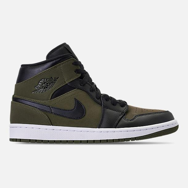 Mens Air Jordan 1 Mid Olive Canvas Canvas Canvas White Black 554724-301 87f5eb