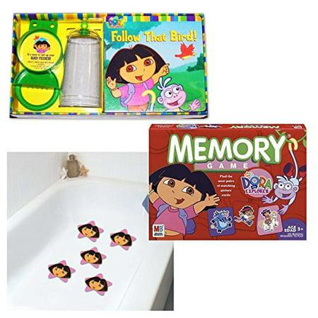 Nick Jr. Dora The Explorer Game, Bird Feeder Set & Tub Treads Girls Gift Bundle Set of 3 [3