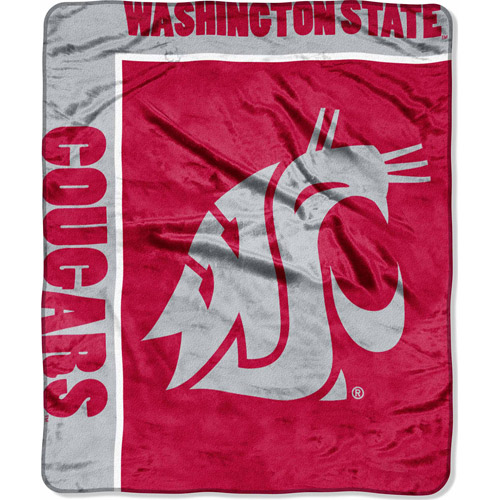 "NCAA School Spirit 50"" x 60"" Royal Plush Raschel Throw, Washington State"