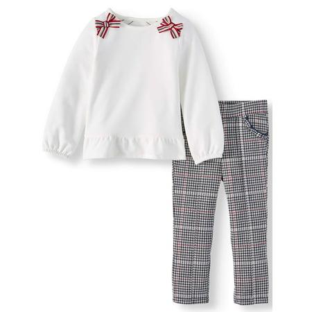 Wonder Nation Peplum Top & Plaid Knit Pants, 2pc Outfit Set (Toddler Girls) ()