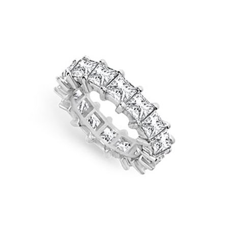 7ct. CZ Wedding Bands Princess Cut AAA CZ Eternity Band Prong Set on Sterling Silver 925 - image 1 of 2