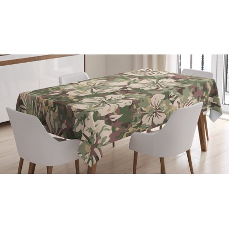 Camo Tablecloth, Aloha Hawaiian Tropical Jungle Forest Hibiscus Flowers Leaves Nature, Rectangular Table Cover for Dining Room Kitchen, 60 X 84 Inches, Baby Pink Green Dark Brown, by Ambesonne