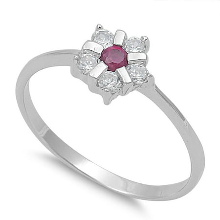 Star Flower Simulated Ruby Cubic Zirconia Ring Sterling Silver 925
