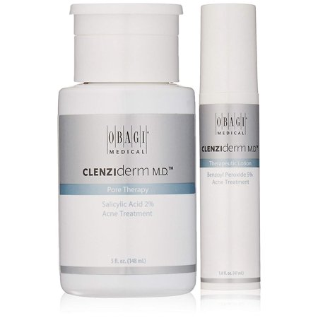 CLENZIderm M.D. Pore Therapy Salicylic Acid 2% Acne Treatment And CLENZIderm M.D. Therapeutic Lotion Benzoyl Peroxide 5% Acne Treatment.