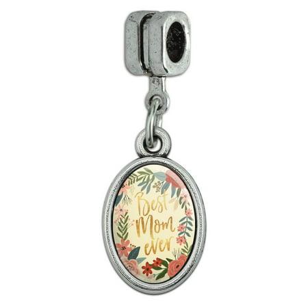 Best Mom Ever Pretty Flowers Mother's Day Italian European Style Bracelet Oval Charm