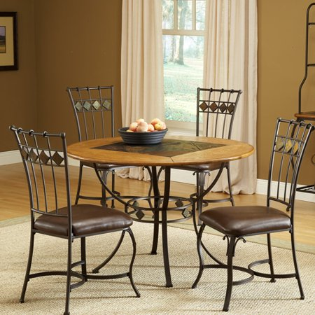 hillsdale lakeview round metal and slate dining table top. Black Bedroom Furniture Sets. Home Design Ideas