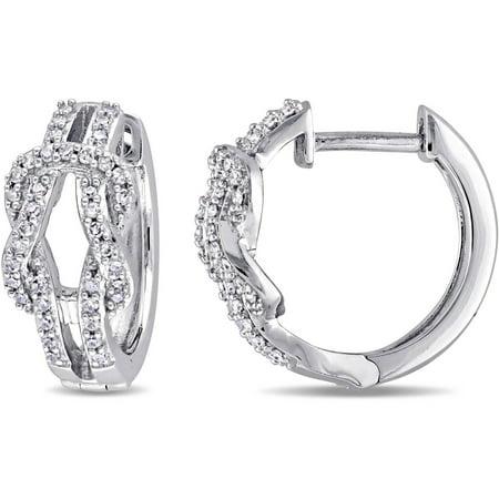 1/4 Carat T.W. Diamond 10kt White Gold Double Row Infinity Hoop (Schrader Double Diamond)
