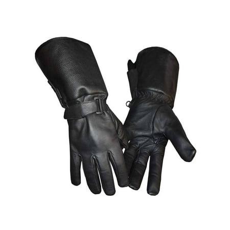 Redline Men's Gauntlet Style Soft Fleece Lining Leather Gloves, Black G-053 - Gauntlet Gloves