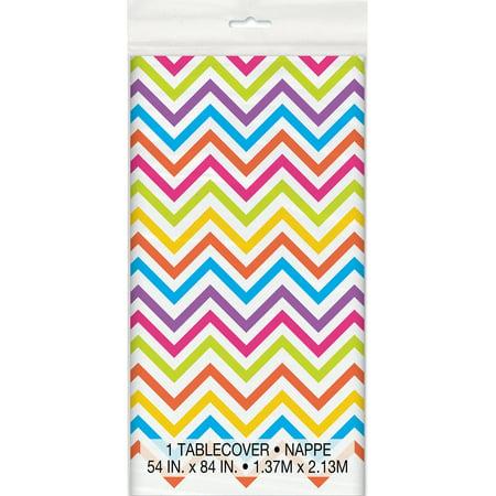 (3 Pack) Plastic Rainbow Chevron Table Cover, 84