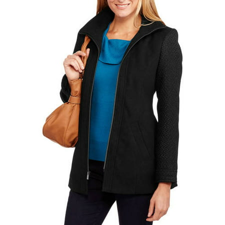 Faded Glory Women's Zip Front Faux Wool Coat with Textured Boucle Sleeves