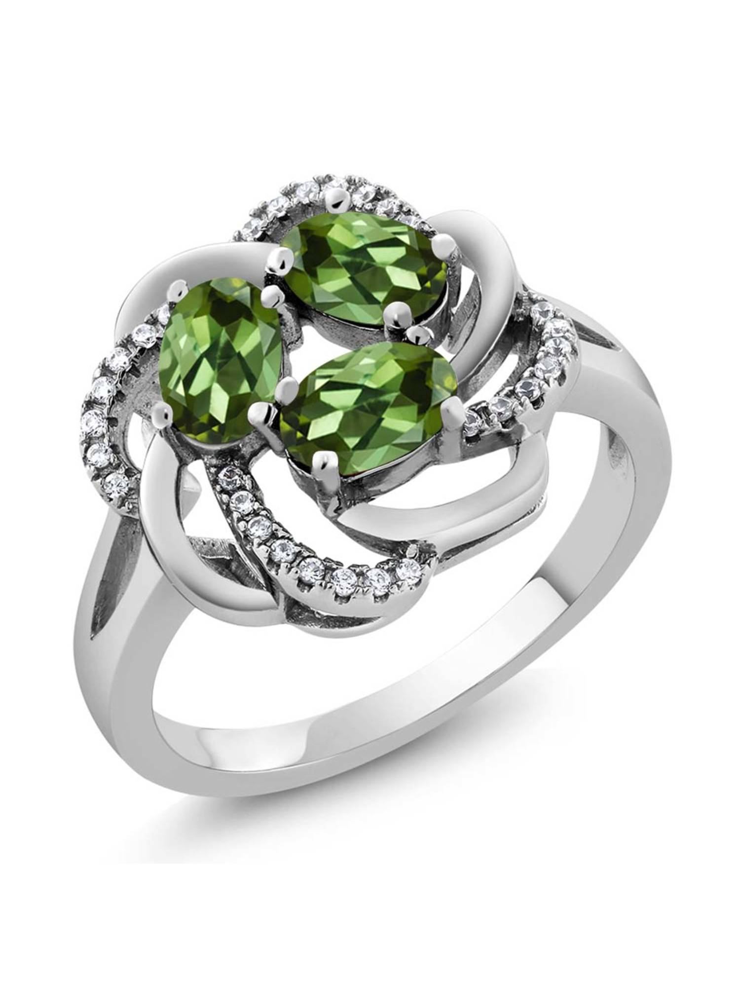 1.87 Ct Oval Green Tourmaline 925 Sterling Silver Ring by