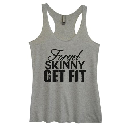 """Women's Triblend Tank Top """"Forget Skinny Get Fit"""" Workout Tank Top X-Large,"""