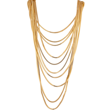 Lux Accessories Multi Chain Row Statement Necklace