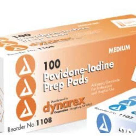 Dynarex polyvidone iodée Préparation Pad, moyenne - 1000 Nombre