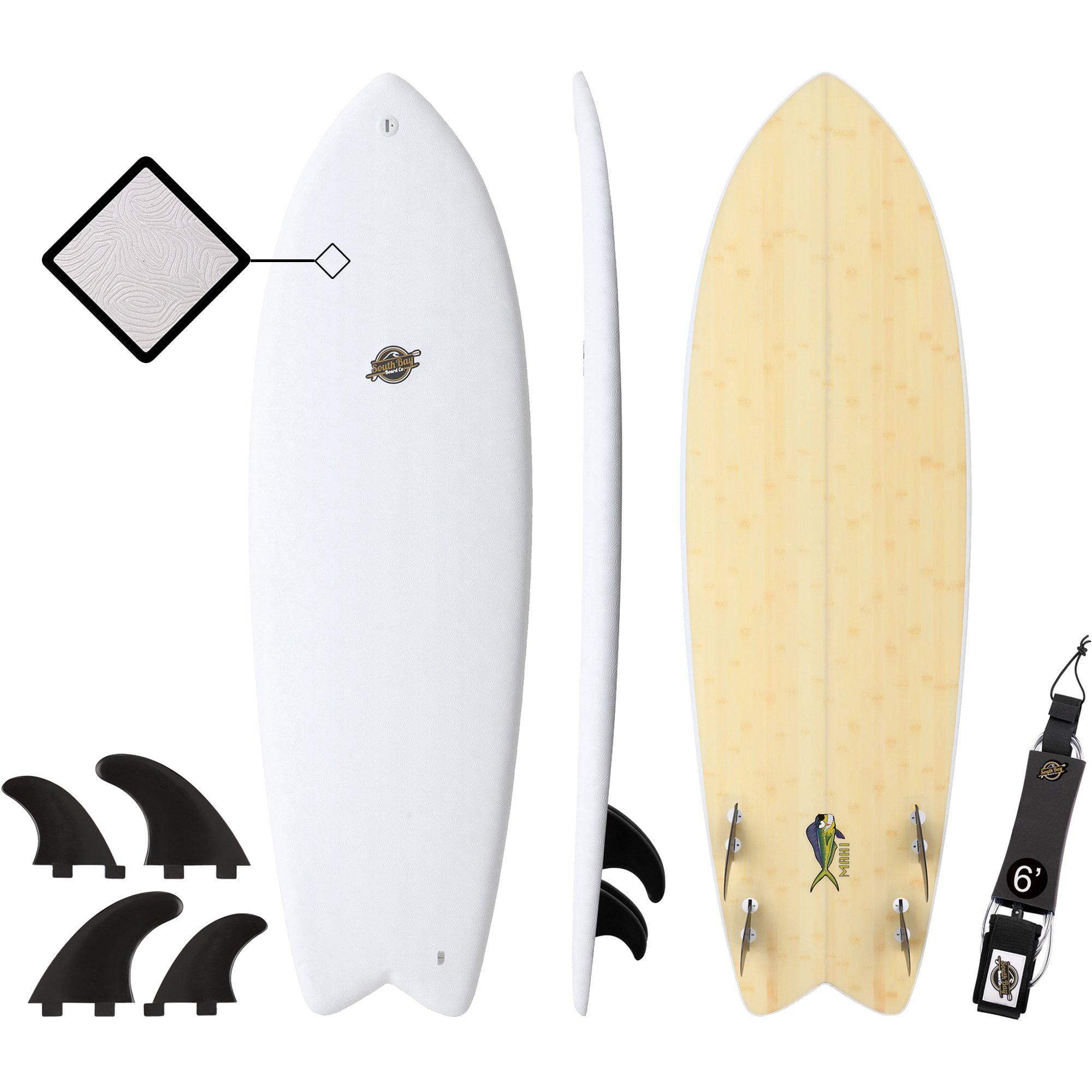 South Bay Board Co. 5'8 Mahi Hybrid Soft Top Surfboard, Leash & Fins