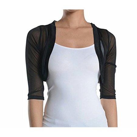 27ac24c317c5b9 Fashion Secrets - Fashion Secrets Women's Sheer Chiffon Bolero Shrug Jacket  Cardigan 3/4 Sleeve (Large, Black) - Walmart.com