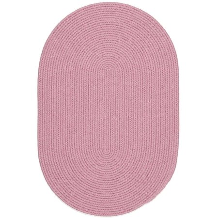 Pink Rug Braided Solid Color 8 Foot By 11 Foot Oval Soft
