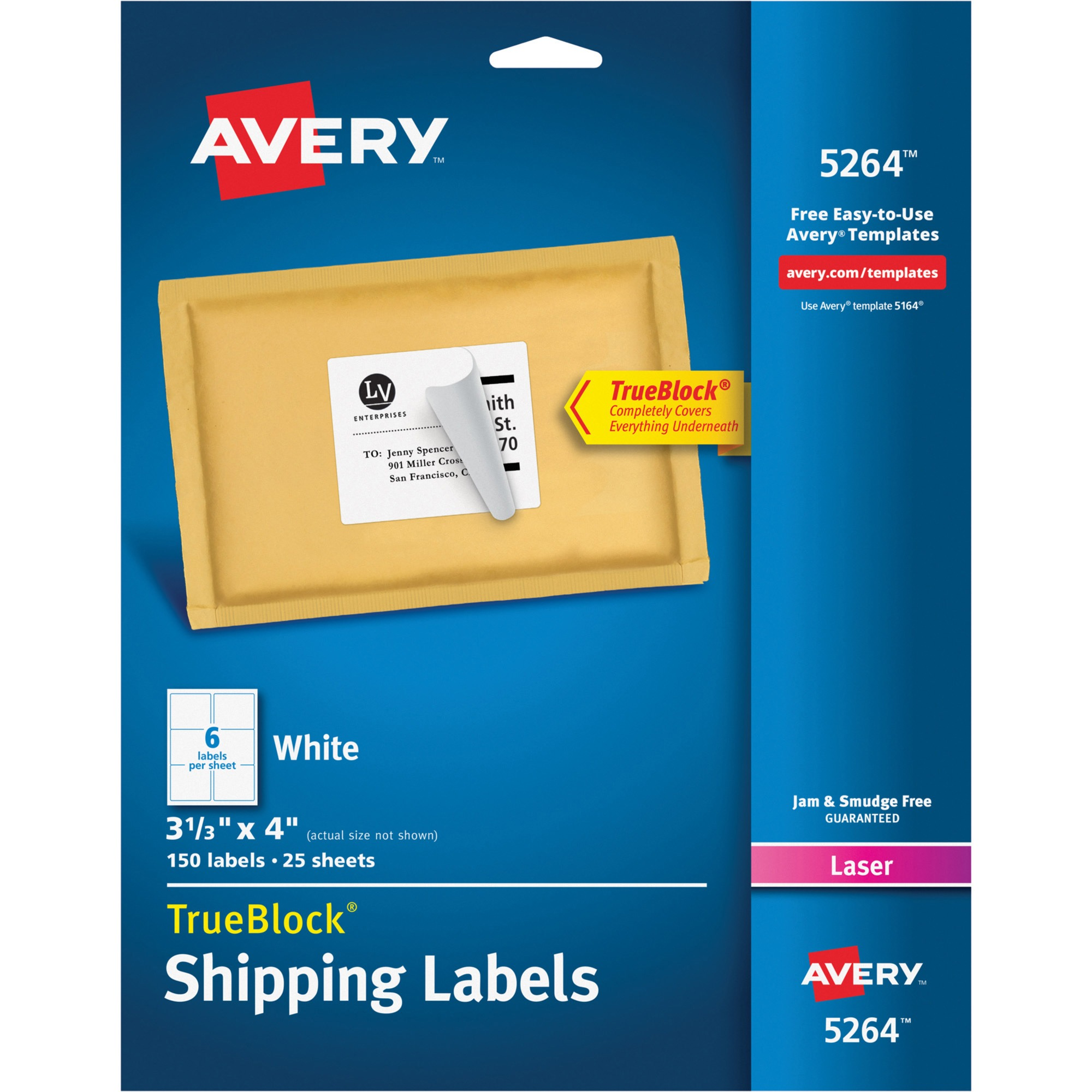 Avery Shipping Labels with TrueBlock Technology, Laser, 3 1/3 x 4, White, 150/Pack
