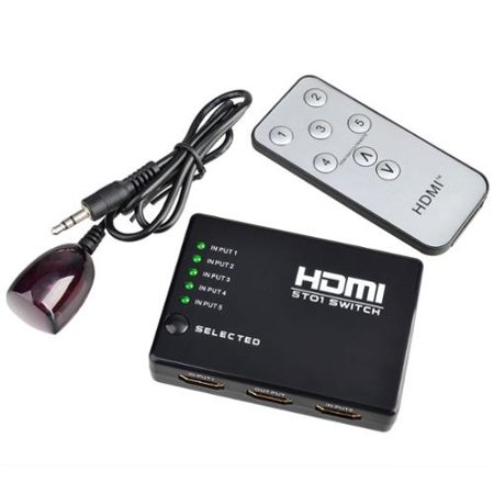 Insten 5 PORT (Gold-Plated) 5×1 HDMI Switch Selector Switcher Splitter Hub & IR Remote 1080p For HDTV PS4 PS3 Xbox 360 DVD BluRay Laptop PC Support 3D