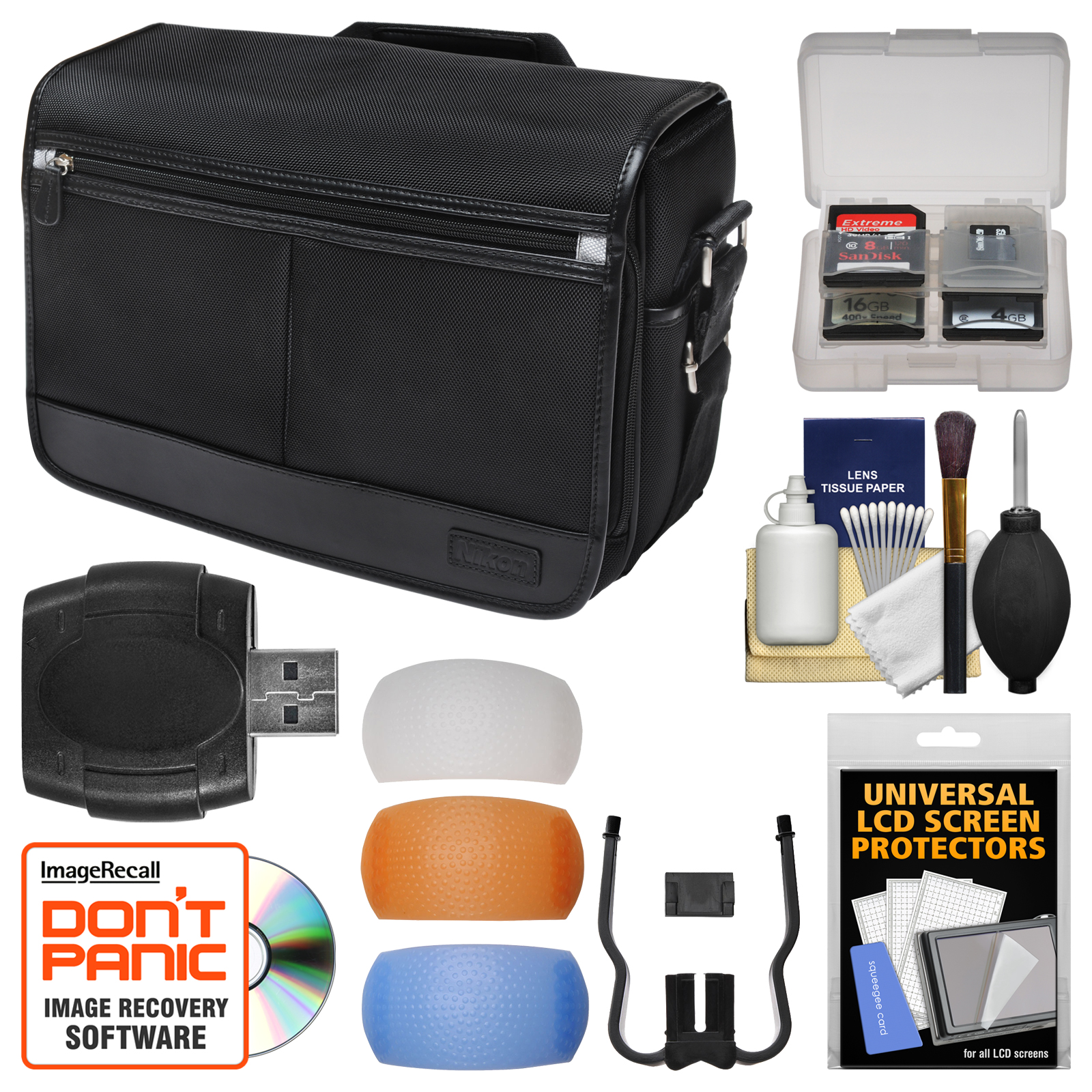 Nikon DSLR Camera/Tablet Messenger Shoulder Bag with Pop-up Filter Set + Kit for D810, D750, D610, D7200, D7100, D5500, D5300, D3300, D3200