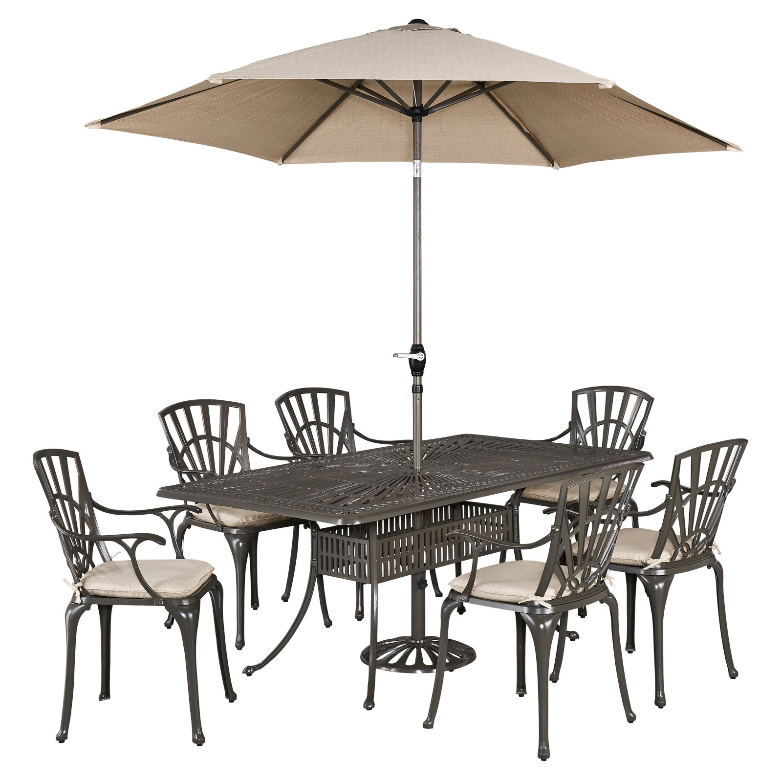 Home Styles Largo Cast Aluminum 7 Piece Rectangular Patio Dining Set with Optional Umbrella and Cushions