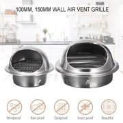 Wall Air Vent Ducting Ventilation Exhaust Grille Cover Outlet Stainless Steel, 100mm / 150mm