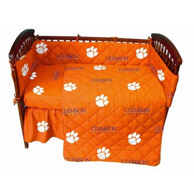 College Covers CLECSFSWPR Clemson Tigers Baby Crib Fitted Sheet Pair, White