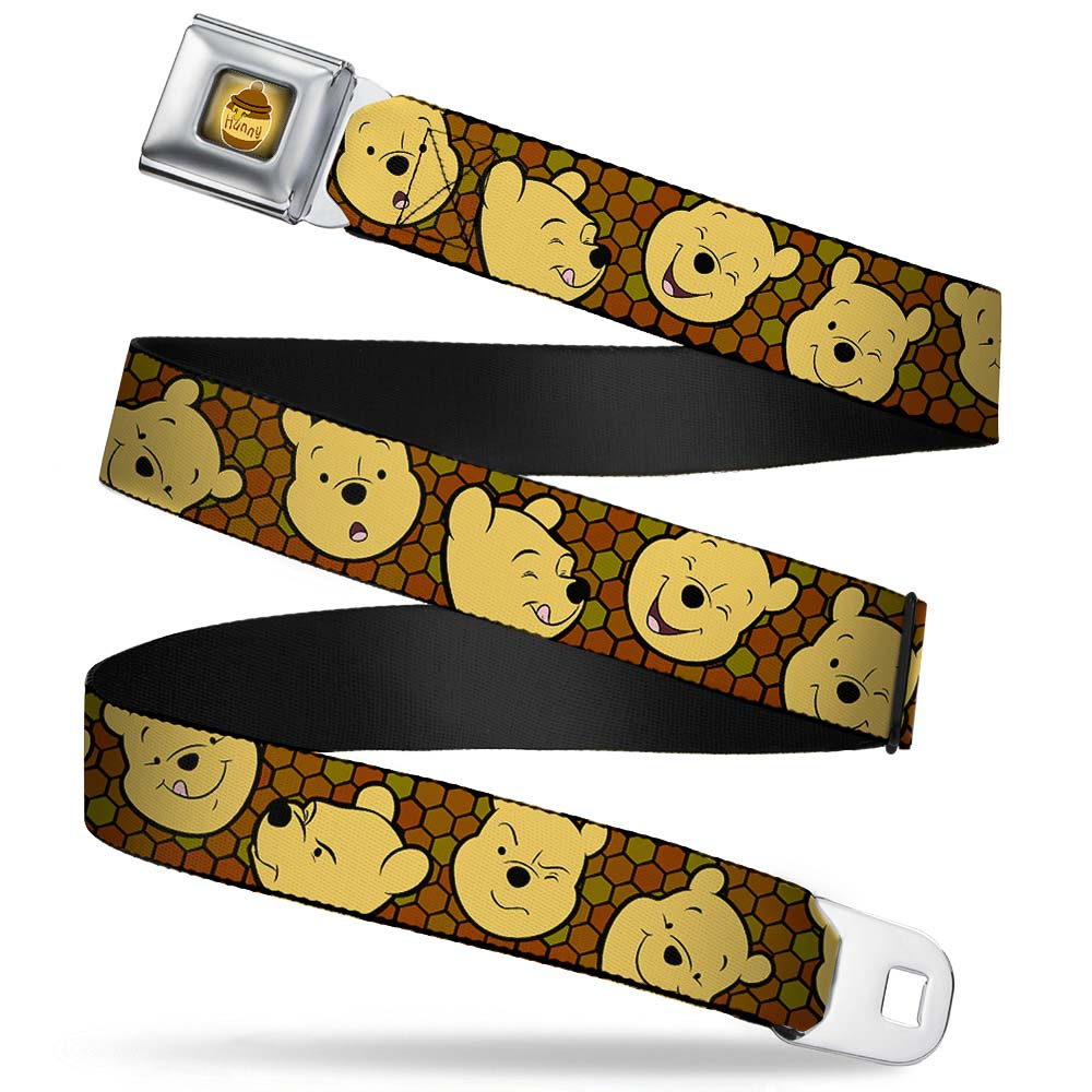 Honey Pot Full Color Black Browns Winnie The Pooh Expressions Honeycomb Seatbelt Belt Standard