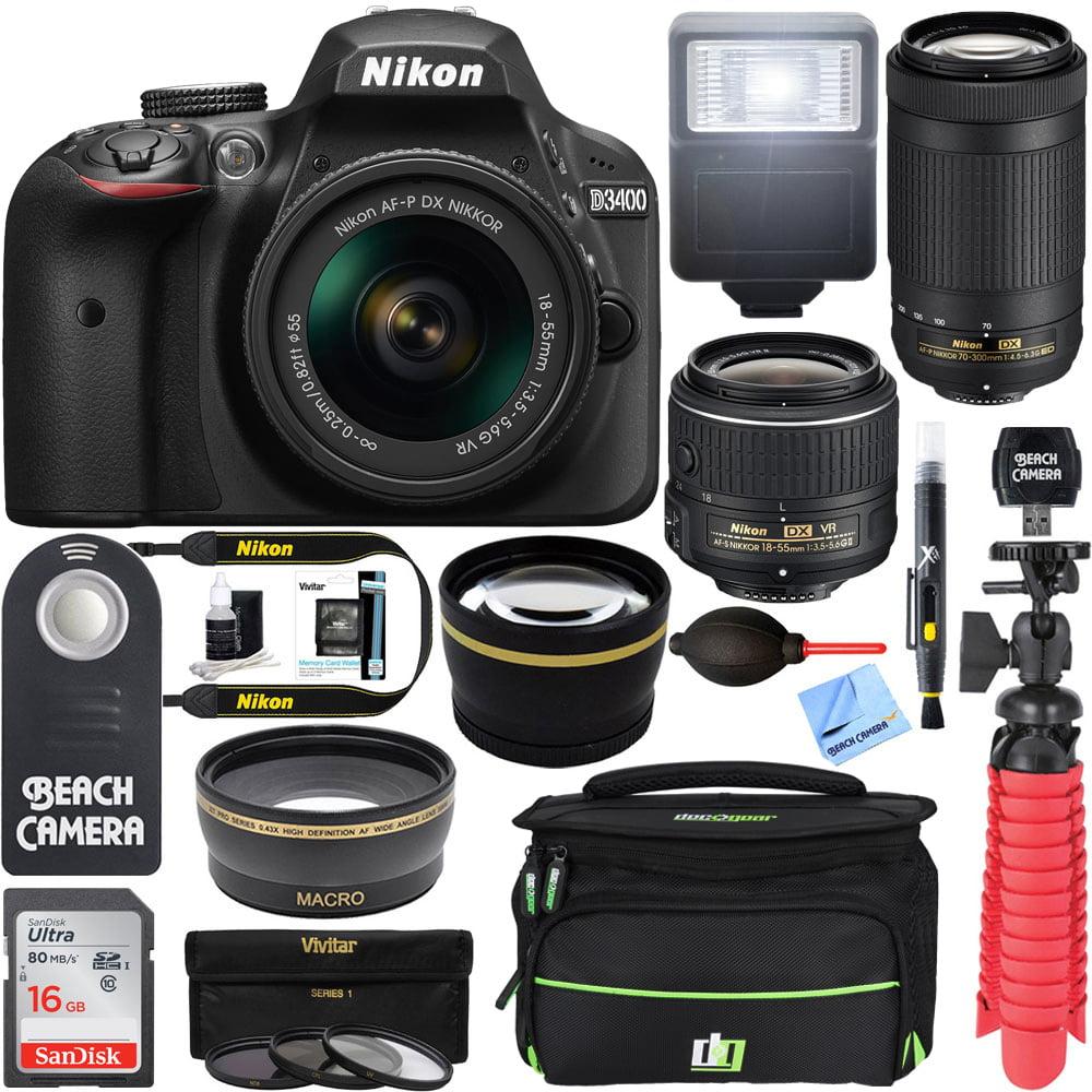 Nikon D3400 24.2MP DSLR Camera with 18-55mm VR and 70-300mm Dual Lens (Black) – (Certified Refurbished)