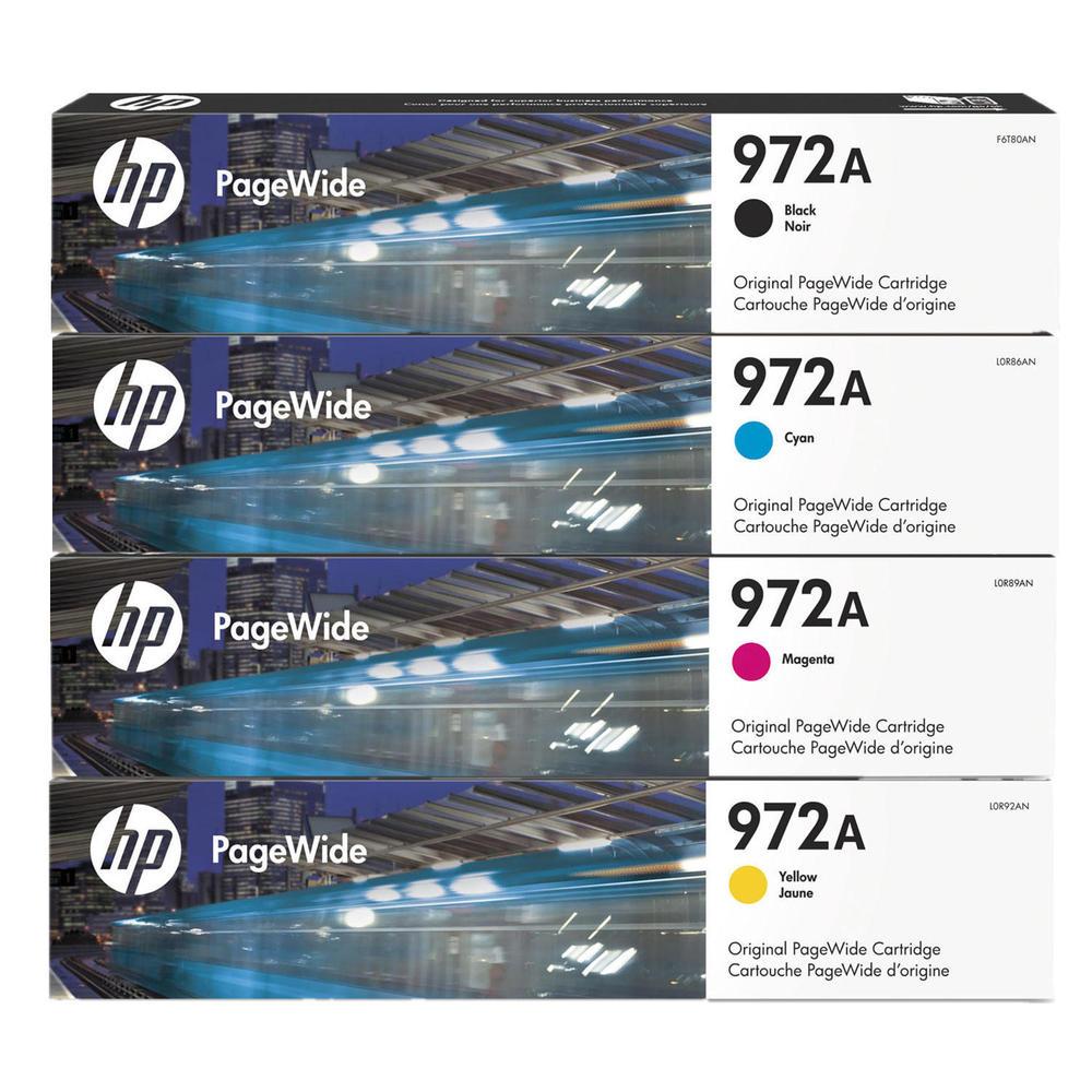 HP 972A Original PageWide Cartridge 4-Color Set-HP F6T80AN, L0R86AN, L0R89AN, L0R92AN