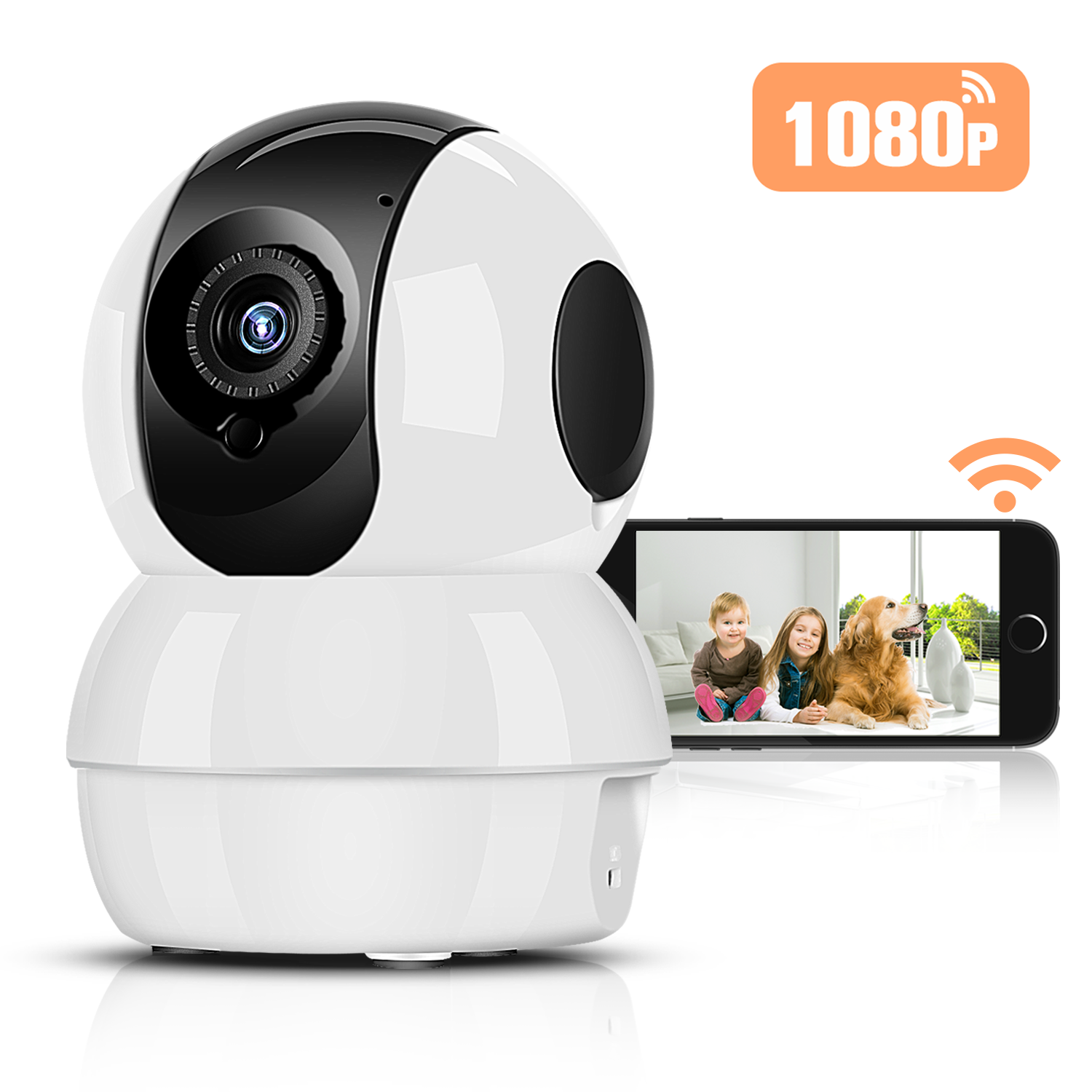 Hommie Wireless IP Camera Night Vision, Motion Detection with Micro SD Card Slot, 2.4GHz WIFI 1080P HD Home Security Cam