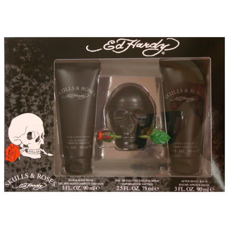 - ED HARDY SKULLS and ROSES by Ed Hardy 2.5 oz EDT Spray 3 Piece Gift Set for Men