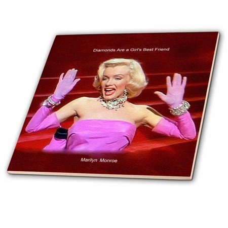 3dRose Marilyn Monroe Singing Diamonds Are a Girls Best Friend (textured) (PD-US) - Ceramic Tile,