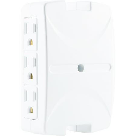 Outlet Wall Flange - Philips 6-Outlet Wall Adapter, Side-Access Outlets, SPS1060T/17