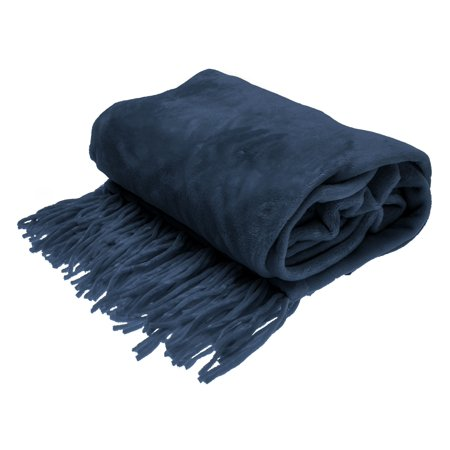 Style Basics Chenille Fringe Sofa Throw - Soft Warm Flannel Plush - For Couch And Sofa (Navy, Fringe Throw 50 X 70) (Micro Chenille Throw)