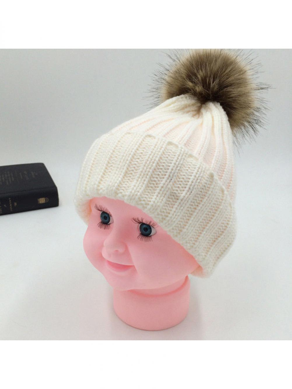 05523c0555dfc Girl12Queen - Fashion Cute Fluffy Ball Baby Kids Adult Beanie Hat Winter  Warm Knitted Cap Gift - Walmart.com